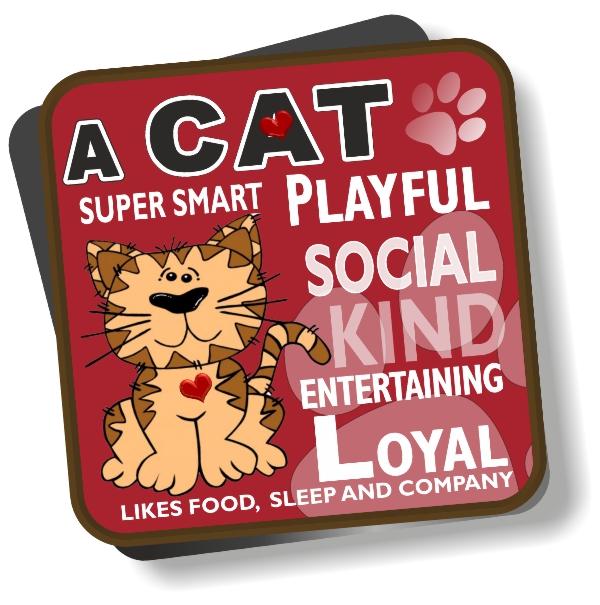Coaster - Cat Cartoon No2 Bright