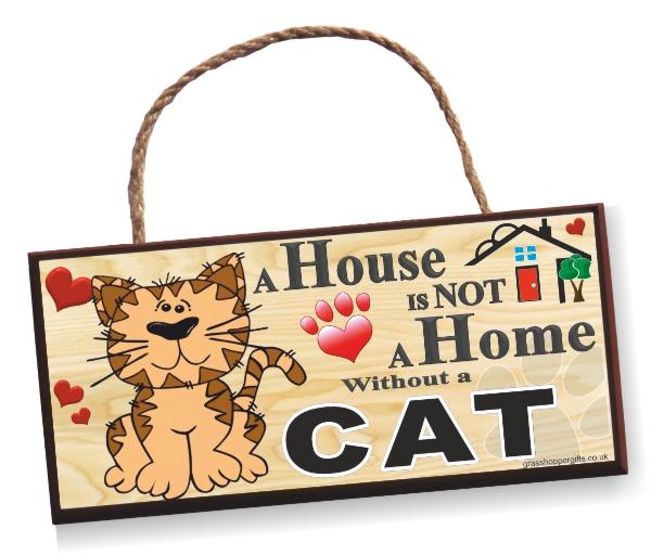Sign - Cat Cartoon Home